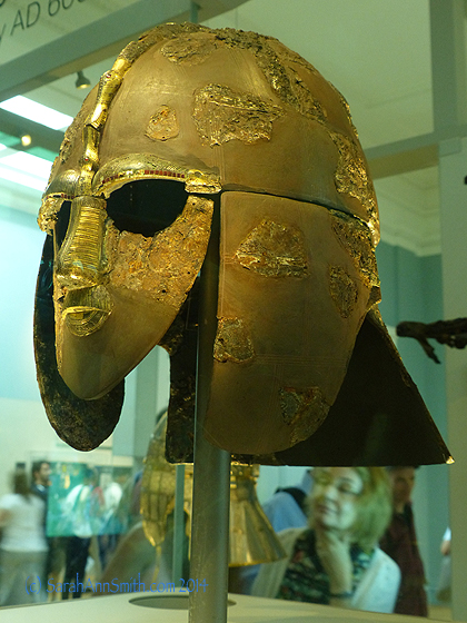 The most stunning item from the Sutton Hoo find is this mask.  They believe the ship was for the king of the Anglo-Saxons in East Anglia and dates to circa 724 a.d.  These are the remnants of the helmet.