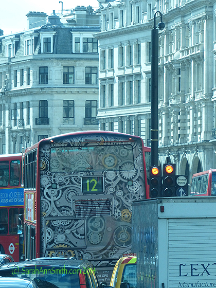 Imagine, design inspiration even on the double decker buses.  Loved this take on steampunk!