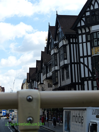 SWOON--that half-timbered building is Liberty, as in Liberty of London, as in all that glorious fabric and more.   We did get back there but only for half an hour.  Just as well, if I had stayed longer I would be even more broke and have needed a suitcase!