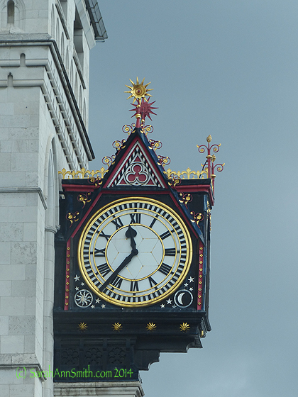Next we went into the City of London, the original small city.  This clock is at the Inns of Court, the justice departments.