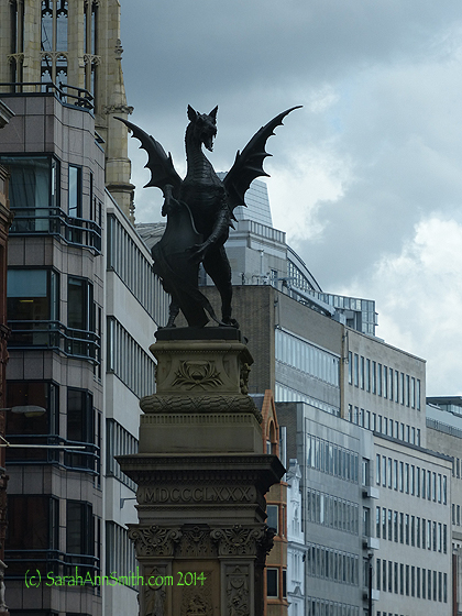 Next we drove along Fleet Street, home to the London press.  LOVED the dragon!
