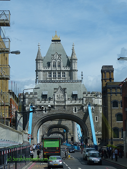 Going across Tower Bridge.  The Bridge is a stunning architectural beauty!