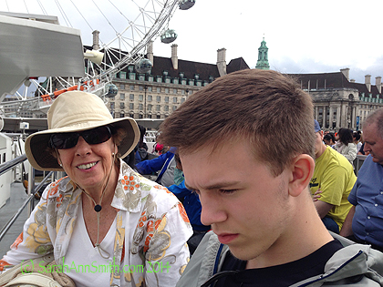 At 1 pm, we met Lynn at Westminster Pier.  She said she'd have on a hat.  Well, as we walked up I saw a woman in a hat with her back to me in a stance that looked SO familiar, so I called out and indeed it was Lynn!  We went on a cruise ship up the Thames from Westminster (home to Parliament, Big Ben and Westminster Abbey) to The Tower and back.  It was tons of fun!