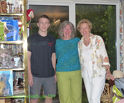 With Lynn and Eli at Lynn's home in Putney Heath, near WImbledon, after a lovely day