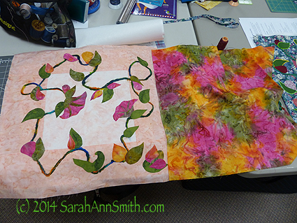 Ann wasn't feeling well and packed in a hurry to head to the retreat after work.  She tossed in this multicolored batik ad made all her leaves and flowers from it!