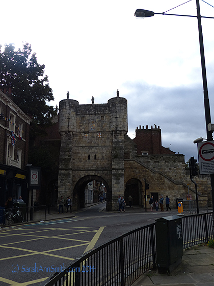 Approaching one of the gates to the old city of York.