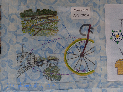 One of the blocks from the Tour de France stitchery quilt.