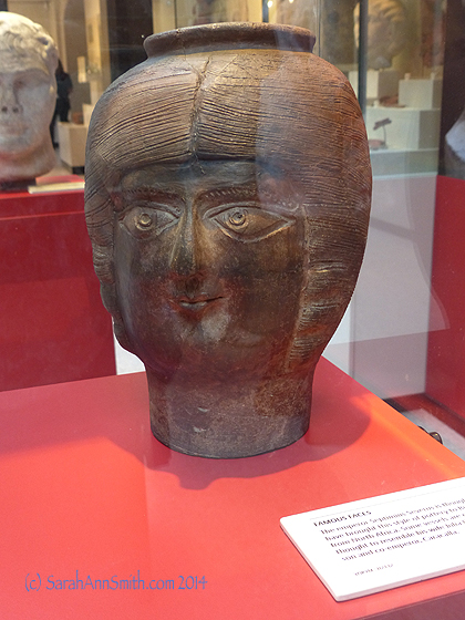 This funerary urn is of an African woman buried in York around 300 AD, part of the Roman compound.   WOW!