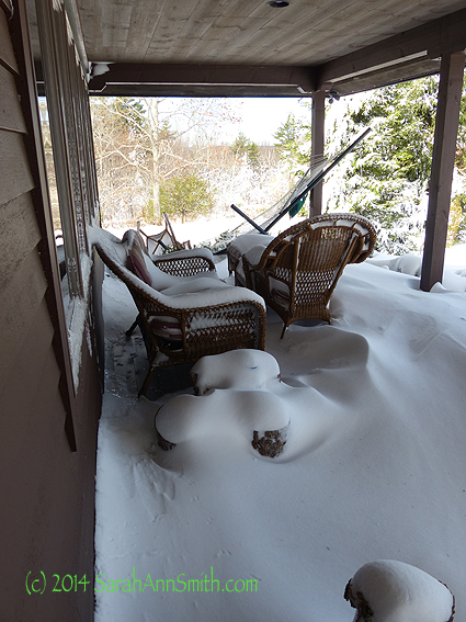 The snowy front porch.