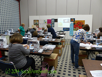 Here's the class hard at work, with my samples up on the foam core boards at the front.