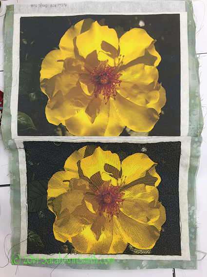 Yellow Rose by Sarah Ann Smith.   The first sample, with no stabilizer.   The two fabrics began the same size--even at this small scale you can see noticeable shrinkage just from quilting.