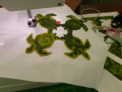 Swirly turtles in progress--those little feet and tail are pretty fiddly!