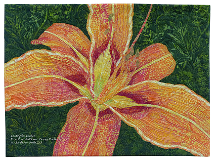 Orange Daylily collage in batik, part of the Photo to Flower Collage / Quilting the Garden workshop