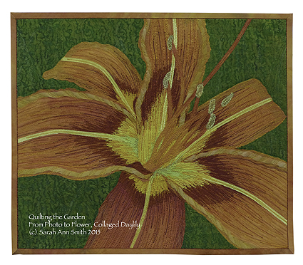 Another verion of the daylily, made exclusively with my own hand-dyes and thermofax screened hand-dye.