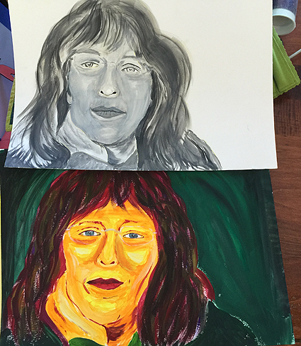 My two self-portraits.  The upper one isn't bad.  The lower one, just plain freaky!