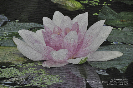 Detail of the Pink Water Lily shows the dense stitching.