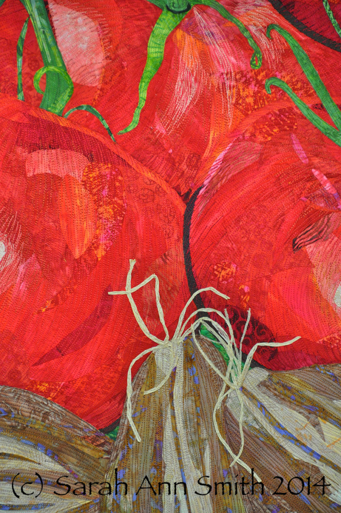 """Detail of raffia """"roots"""" on the shallots. Insalata by Sarah Ann Smith. (c) 2014"""