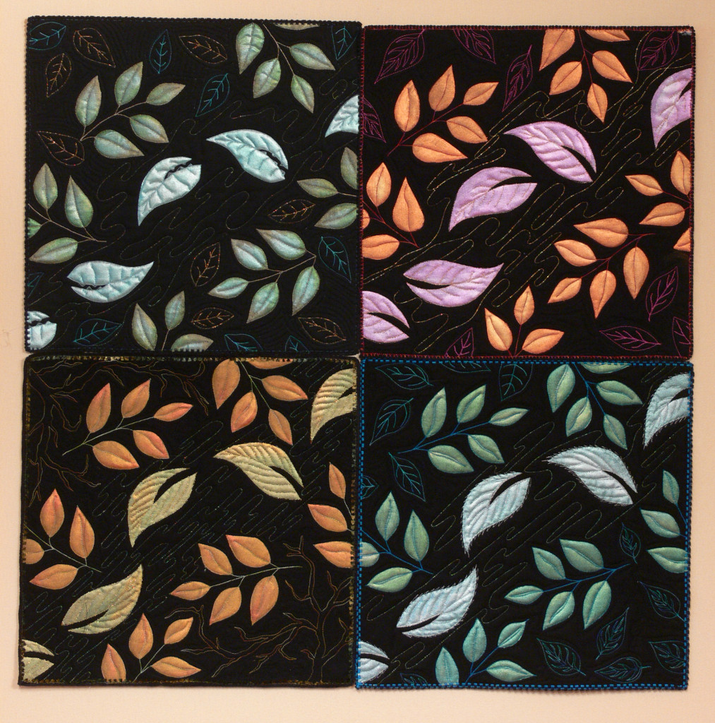 Here are four versions of my tossed leaves.  You learn to make a freezer paper stencil and paint on cloth.  While the paint dries, learn key tips to success with metallic, holographic, heavy and shiny threads, then free-motion quilt your piece.
