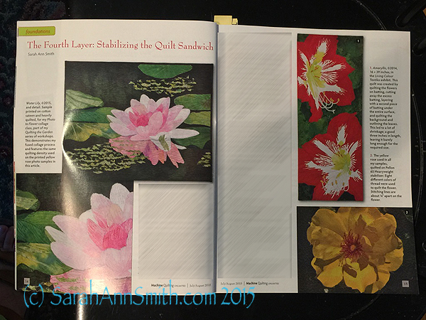 The opening spread of my article on stabilizing the quilt sandwich in the July/August issue of Machine Quilting Unlimited