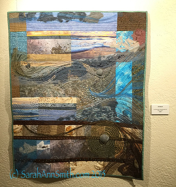 I was absolutely enchanted by Jill Kerttula's two quilts.  She described how she loves photography, and makes works where the photo is enriched by the stitching, and the stitching is supported by the photography.   This piece is