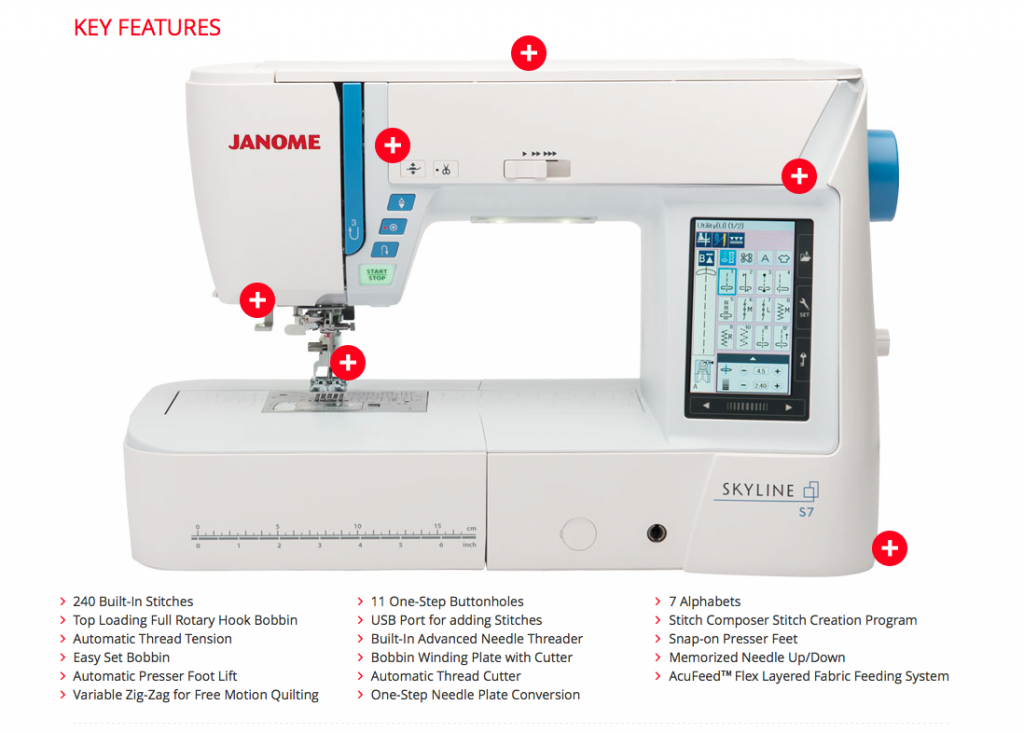 A screen capture from the Janome America website. To link to the site, go here.