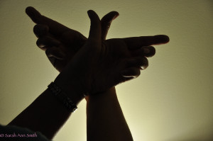 The original photo of my hands.  Had a photography (for quilts) light shining up to get a sharp silhouette.