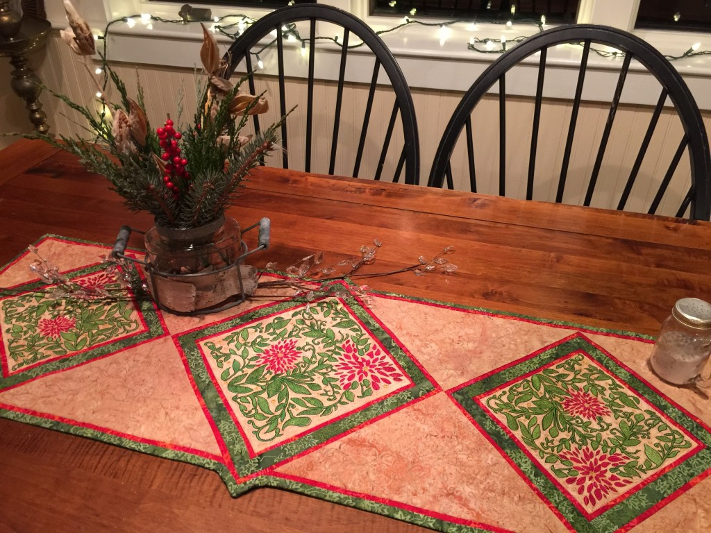 A table runner I made to feature the Janome 15000's beautiful embroidery