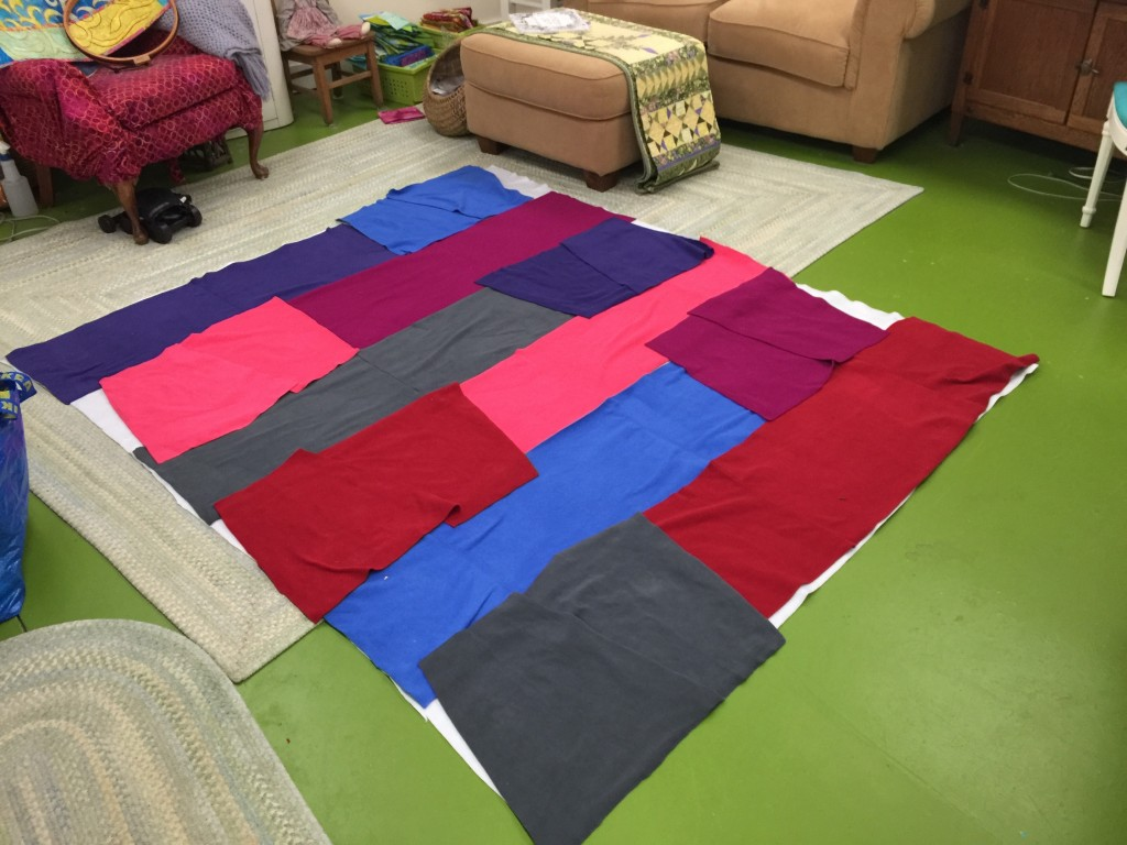 Laying out the fleece for the second backing