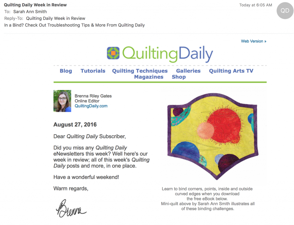 From this morning's email:  my little quilt shows all sorts of binding challenges:  sh