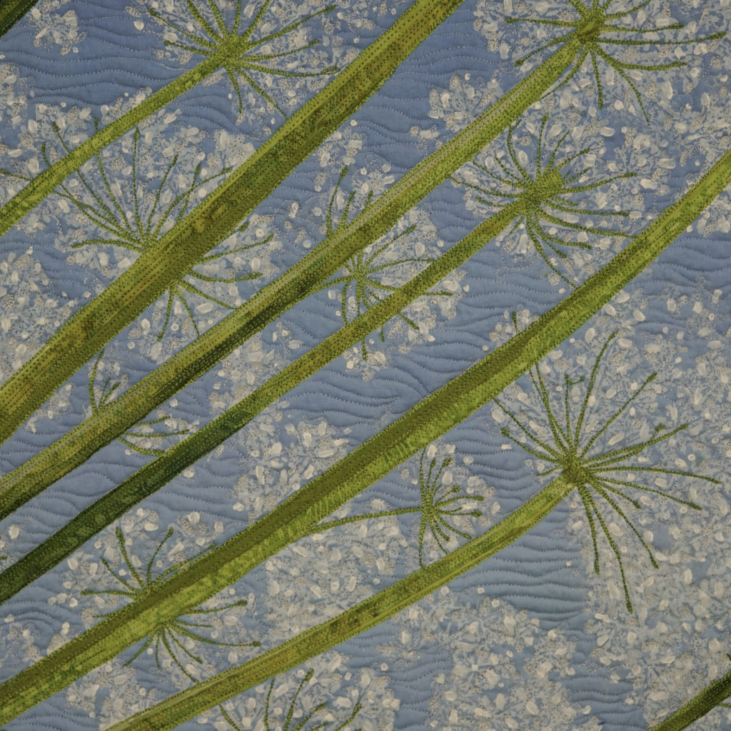 Detail showing quality of stitching, Umbelliferous: Queen Anne's Lace No. 1, (c) Sarah Ann Smith.com