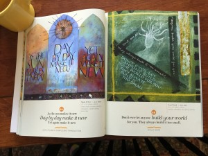 A two page spread featuring artwork by Jill K. Berry (left) and Holly Dean.  If you look closely in the center, you'll see a small bit of orange...