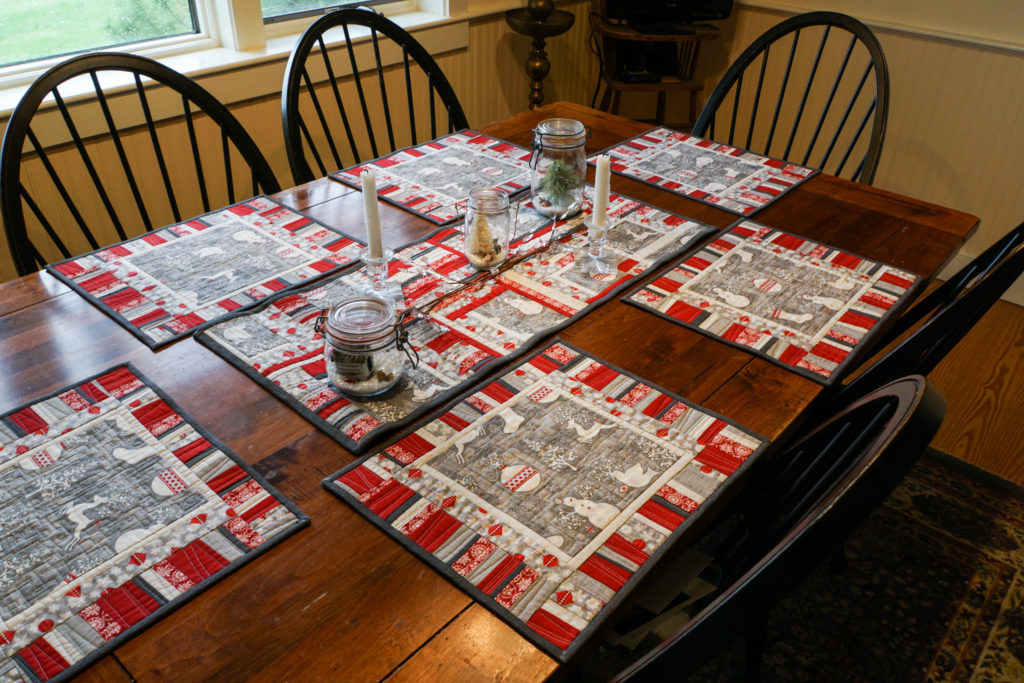 Modern Winter placemats and table runner.